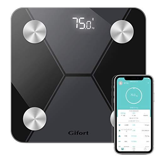 体重計 体組成計 心拍数測定 体脂肪/体水分/筋肉量/BMIなど多項健康指標 赤ちゃんの体重計算iPhone/Androidアプリで健康管理 健康管理/肥満予防/体重管理【ブラック】