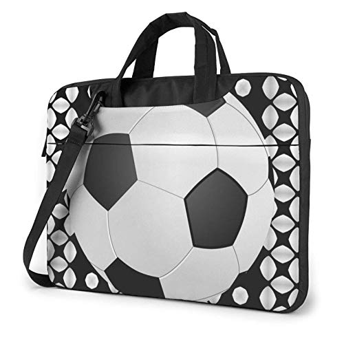Football Black Laptop Shoulder Bag Sleeve Case, Shockproof Laptop Briefcase Computer Bag