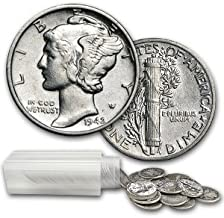 1916-1945 90% Silver Roll of Mercury Dimes 50ct. $5 Face Value About Uncirculated