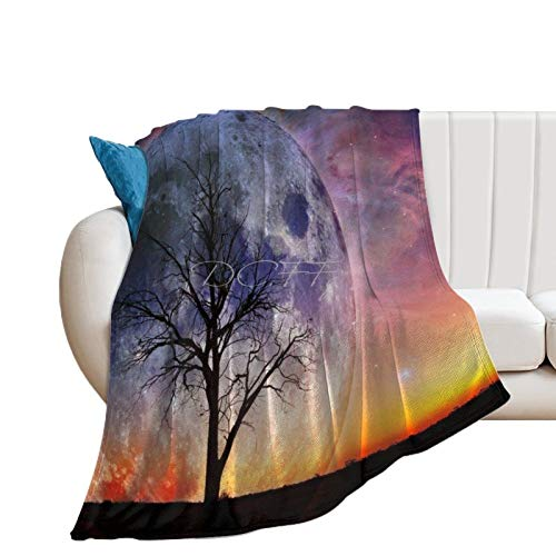 Throw Blanket for Couch Flannel Blankets Cool Space Tree Super Moon Nature Lightweight Ultra Soft for All Season Farmhouse Decorative Blanket for Bed Sofa Travel Birthday Gift 30x40 Inch