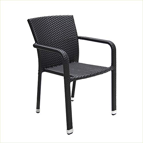 acamp Gartenstühle Carlos | 4er Set | Schwarz | Aluminium-Gestell wetterfest | flaches FlexMesh Geflecht aus hochwertigem und recyclebarem Kunststoff | Fußkappen aus Aluminium | 57,5x63x83 cm