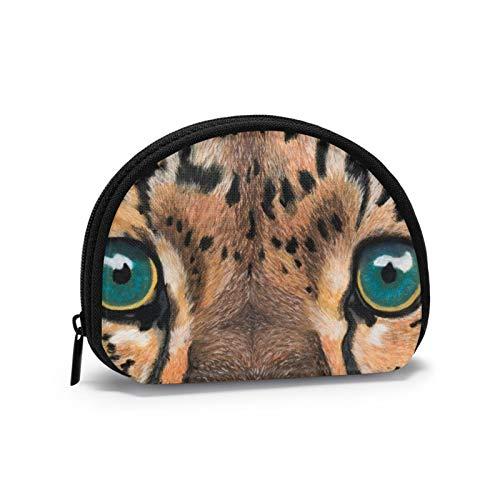 Monederos de ojos azules Tiger bolsas para monedero niños lindo bolso auricular titular portátil mini cambio monederos para mujeres niñas 4.7 x 3.5 pulgadas