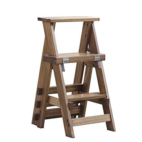 W-SHTAO L-WSWS - Silla de escalera de madera maciza de tres pisos, taburete plegable para el hogar, tres pisos, doble uso, escalera interior, 34 x 44 x 68,5 cm