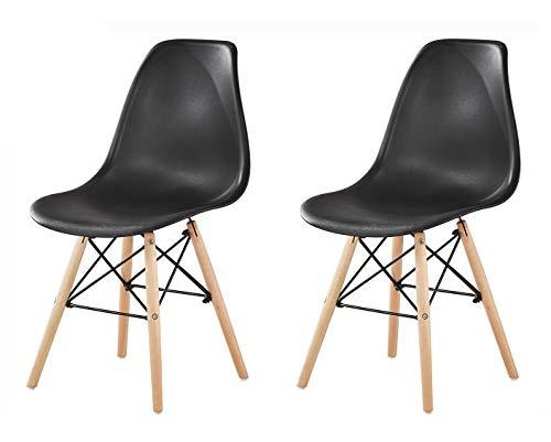 MCC Retro Design Stühle LIA Esszimmerstühle im 2er Set, Eiffelturm inspirierter Style für Küche, Büro, Lounge, Konfernzzimmer etc, 6 Farben, Kult (schwarz)