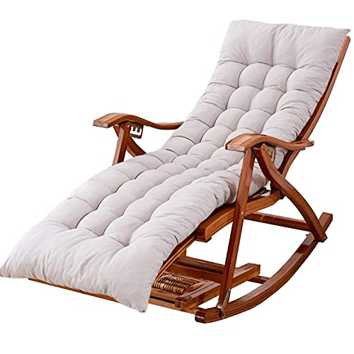 WGFGXQ Large Outdoor Rocking Chairs with Cushion, Foldable Bamboo Reclining Chair for Garden, Lawn, Balcony, Backyard, Patio, Porch Rocker (Color : Gray)