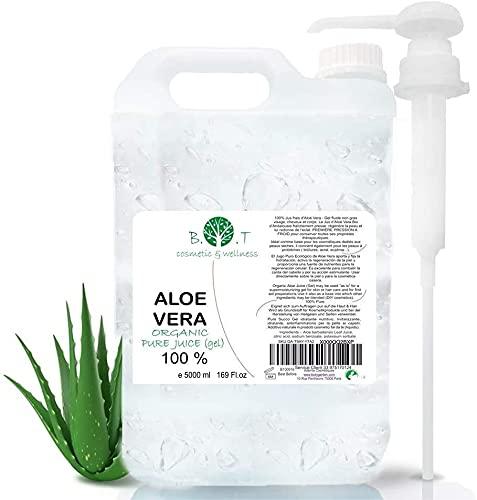 100% Pure Gel d'Aloe Vera Organique ( liquide, sans épaississants) (5000 ml)