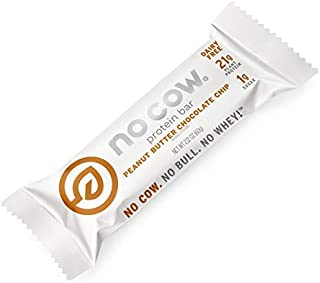 No Cow Protein Bars, Peanut Butter Chocolate Chip, 21g Plant Based Protein, Lactose Free, Low Carb, Pea Protein, Low Sugar, Keto, Vegan, Dairy Free, Gluten Free, High Fiber, Non-GMO, 12 Pack