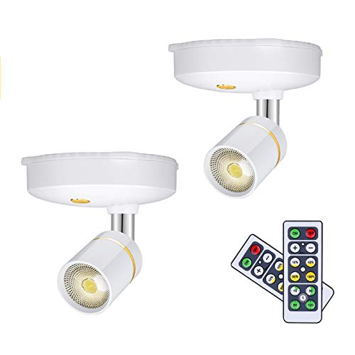 LEASTYLE Wireless Spot Lights Battery Operated Picture Lights Mini Accent Lights Indoor Dimmable LED Spotlight with Remote Stick on Anywhere Rotatable Wall Light,Warm White(2 Pack)