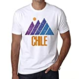 Hombre Camiseta Vintage T-Shirt Gráfico Mountain Chile Blanco