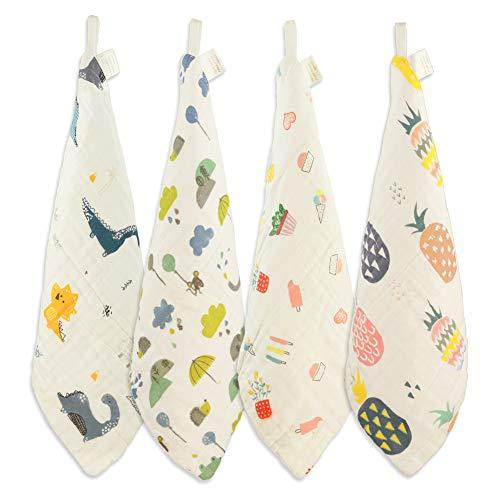 Toallitas de bebé 100% algodón, toallas reutilizables con punta del dedo, toalla facial para bebé, el mejor regalo para pieles sensibles y bebés, 4 piezas de 30 x 30 cm