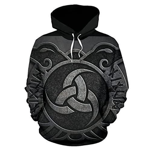 Jersey de Diseño de Estilo de Tatuaje de Nudo Celta Vikingo, Sudadera con Capucha Deportiva Unisex con Estampado en 3D, Tamaño Completo S-5XL,Negro,S