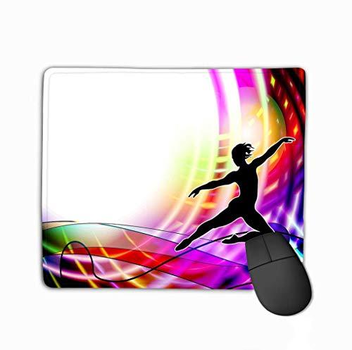 Rechteck rutschfeste Gummi Mousepad Balletttänzer Fitness Aerobic Rhythmische Gymnastik Balletttänzer Rhythmische Gymnastik Dark Neon Futuristic Small