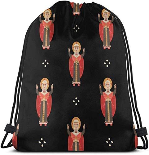 Bolsos con cordón del patrón de la Virgen María Mochilas de Baile de Gimnasio Bolsas de Hombro Regalo 36 x 43 cm / 14.2 x 16.9 Pulgadas