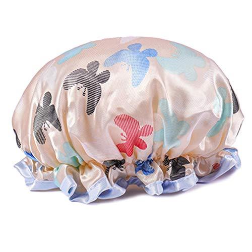 Monbedos Bonnet de douche en PVC pour femme - Style papillon - Étanche - Beige