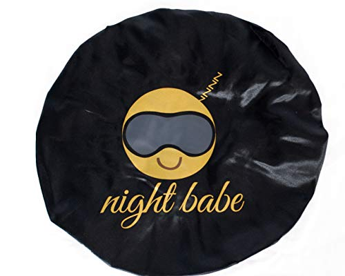 Silk Bonnet for Women, Shower cap, Satin Silk Bonnet, Comfortable Sleep Cap Bonnets for Women (Black/gold)