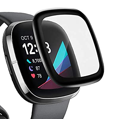 Liwin (4-Pack) 3D Screen Protectors Compatible with Fitbit Sense/Versa 3, Full Coverage Screen Protector Protective Cover Saver for Sense and Versa 3 Smartwatch