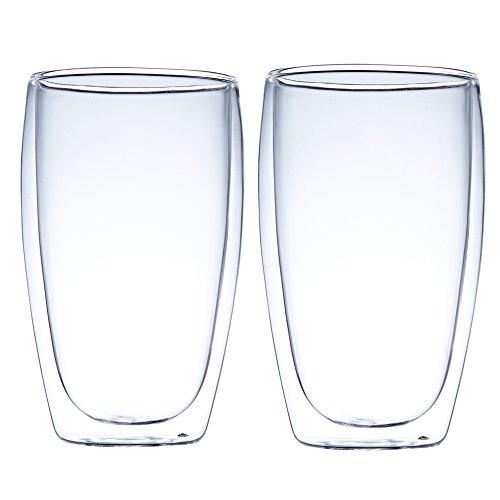 Bicchieri da caffè isolati a doppia parete, resistenti al calore, ideali per latte, latte, birra, cappuccino, succhi di frutta, tè, set di 2, trasparenti (450 ml)
