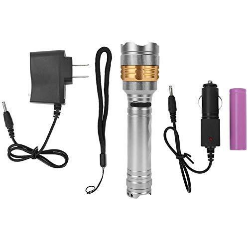 Linterna LED de alta potencia Alta brillante de mano antorcha luz al aire libre linterna para acampar caza (blanco)