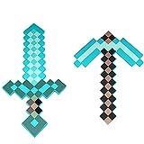 JYMEI Schwert aus hartem Schaumstoff,Schwert/Spitzhacke,MC Kostüm,Mine&Craft Eisenspitzhacke,Pixelschwert,Diamant-Schwert,Lebensgroßes Spielzeug(Blau)
