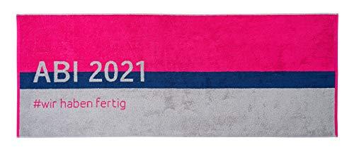 Strandtuch ABI 2021, rosa blau grau, 70x180cm, Walkfrottier 480g/qm, 100% Baumwolle