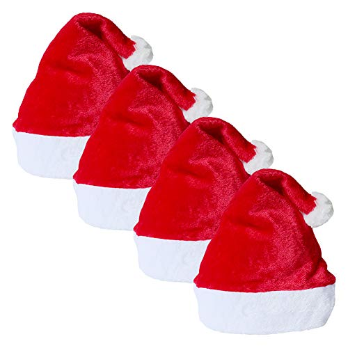 sombrero de Santa para adultos, un tamaño, 4Pc Unisex rojo engrosado Sombrero clásico de Navidad Gorro de Navidad Gorro de muñeco de nieve de Santa Fiesta de disfraces festivos de Año Nuevo Fiesta