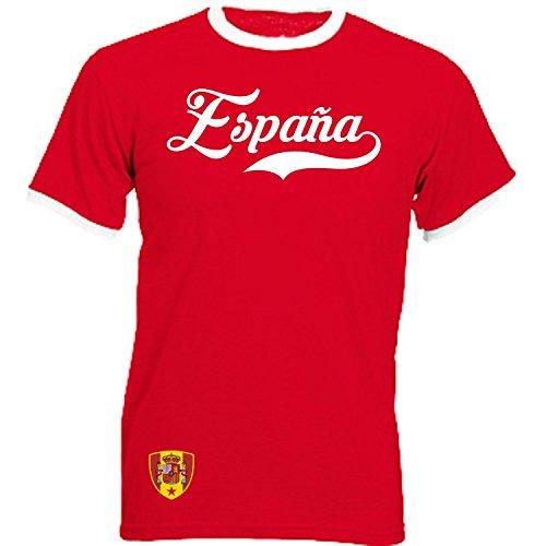 Spanien - Ringer Retro TS - rot - EM 2016 T-Shirt Trikot Look Spain (L)