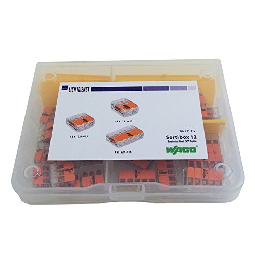 WAGO Box mit 37 Klemmen (MINI-Hebelklemmen) Sortibox Nr. 12
