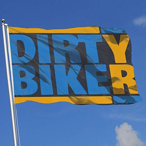 BHGYT Fashion Home Backyard Bandera Decorativa Dirt Bike - Dirty Biker 100% poliéster Banderas de una Sola Capa 3 X 5