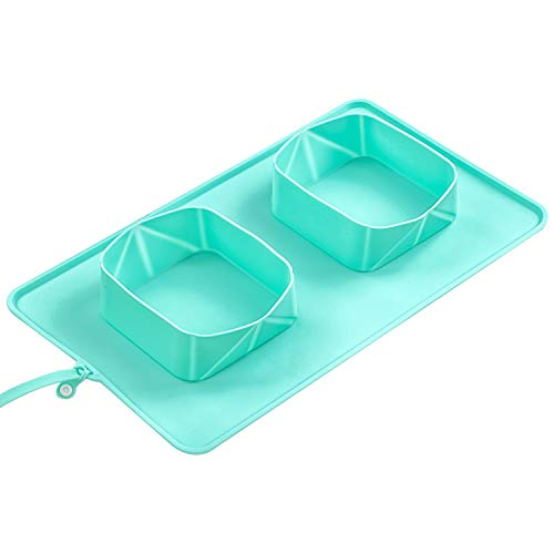 AOSMAN Silicone Collapsible Dog Bowl  No Spill NonSkid Feeder Bowl for Outdoor Camping Pet Food Water FeedingGreen