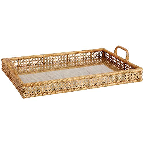 Large Round/Rectangle Rattan Serving Tray with Handles, Ottoman Tray for...