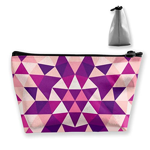 Multi-Functional Print Trapezoidal Storage Bag for Female Round Abstract Geometrical Triangle