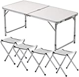 1ABOVE Multipurpose Table Set with 4 Chair, Outdoor Indoor Use for BBQ| Picnic| Garden| Office Parties Set In White Foldable Portable Design (Size: 4FT)