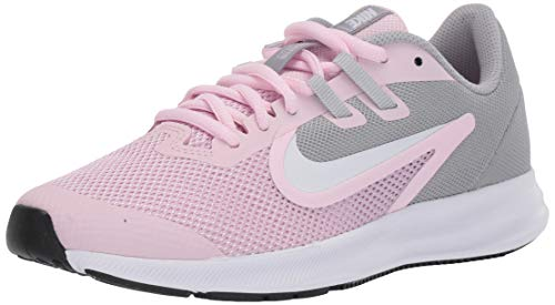 Nike Unisex Downshifter 9 Grade School Running Shoe Pink Foam/White-Metallic Silver 6.5Y Regular US Big Kid