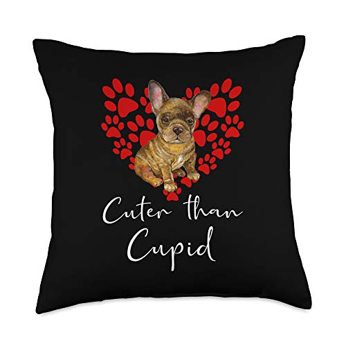 FRENCH BULLDOG Funny Dog Owner Gifts FRENCH BULLDOG Dog Cuter Than Cupid FRENCHIE Valentines Day Throw Pillow, 18x18, Multicolor