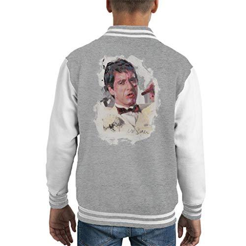 VINTRO Al Pacino Scarface Tuxedo Kinder-Uni-Jacke Original Porträt von Sidney Maurer (Grau Meliertes Arktisches Weiß,XL)