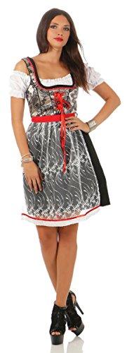 Fashion4Young Damen Dirndl Trachtenkleid 3 TLG. Minibluse Kleid Schürze Oktoberfest (L=40, 4278-silber-schwarz-rot)