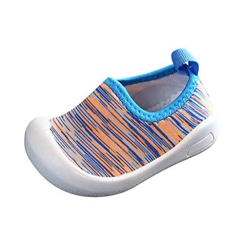 HDUFGJ Kinder Jungen Mädchen Sneaker Elastisches Tuch Set Füße Freizeitschuhe Wanderschuhe Atmungsaktiv Laufschuhe Outdoor Klettverschluss Sneaker Turnschuhe Hallenschuhe Schuhe23 EU(Blau)