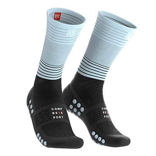 COMPRESSPORT Erwachsene Mid Compression Socks, Schwarz/IceBlau, T1