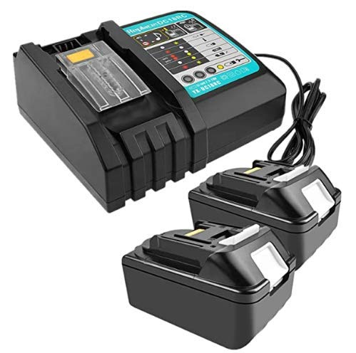 2 Stück 18V 4.0Ah Li-Ion Akku mit 3A Ladegerät kompatibel mit Makita schnurlosem Baustellenradio DMR110 DMR112 DMR107 DMR108 BMR100 BMR102 DMR102 DMR102 DMR100
