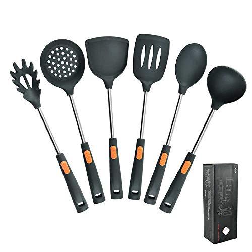 Utensilios De Cocina De Silicona Mango De Tubo De Acero Inoxidable 6 Piezas Conjunto De Cocina Doméstica Pala De Silicona Conjunto De Cocina Conjunto de cocina