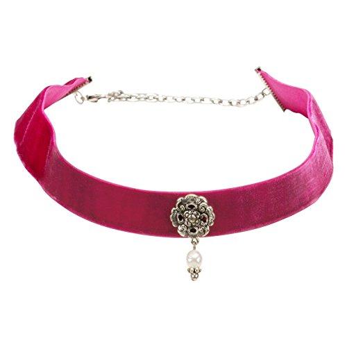 Alpenflüstern Trachten-Samt-Kropfband Frida mit Ornament und Perle - nostalgische Trachtenkette enganliegend, Kropfkette elastisch, Damen-Trachtenschmuck, Samtkropfband breit pink-Fuchsia DHK168