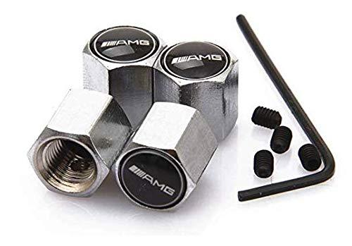 Tgh (VS-AMG) Kit de 4 Tapones para válvulas Aluminio Plateado Compatible con AMG (Sistema Antirrobo)