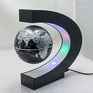Magnetic Levitation Floating Globe, Upgrade Floating Geographic World Map Globe with Led Lights & C Shape Base for Home…