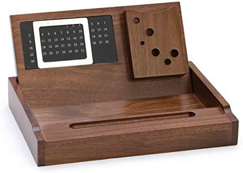 Zfggd Caja de almacenamiento de madera maestro regalos del día del calendario perpetuo carta de personalidad multifunción de escritorio de oficina de negocios retro del estilo de los efectos de escrit