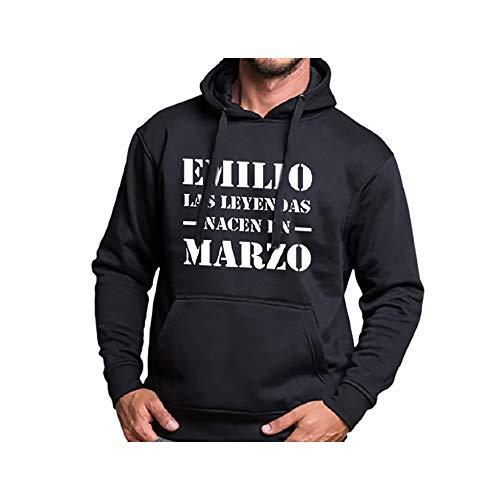 Calledelregalo Regalo Personalizado para el cumpleaños de un Hombre: Sudadera Personalizada con su Nombre y Mes de Nacimiento (Leyenda Negro)