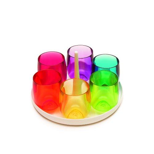 ZAK Designs 2007-210 - Set di 6 Bicchieri da aperitivo, Modello Stacky, capacità: 60ml, con Vassoio (Diametro: 16cm), Colore: Multicolore con Vassoio Bianco