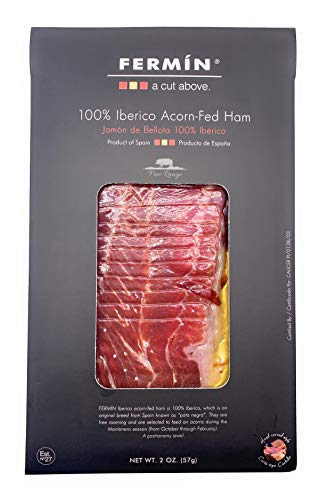 Iberico de Bellota Ham Sliced by Hand (2 oz).