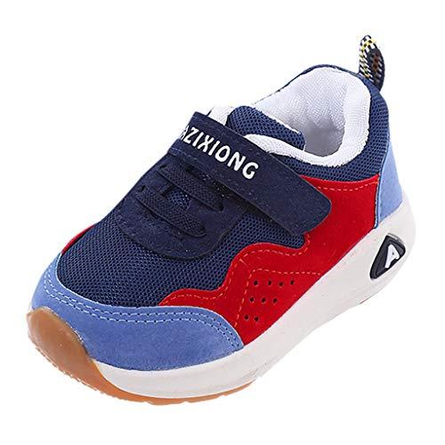 HDUFGJ Kinder Jungen Mädchen Sneaker Sportschuhe Mesh Atmungsaktiv Laufschuhe Outdoor Klettverschluss Wanderschuhe Sport Sneaker Turnschuhe Hallenschuhe Schuhe24 EU(Blau)