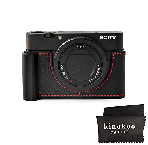 kinokoo Kamera-Halbtasche für Sony RX100 RX100M2 RX100M3 RX100M4 RX100M5 RX100M6 Echtleder Grip Case