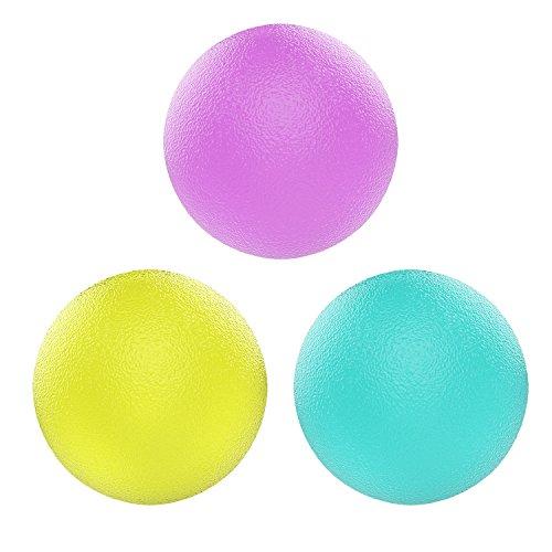 握力ボール - ATiC 筋トレ TPE製 高反発 ストレス解消 握力強化 リハビリやトレーニングに 3点セット (3段階の負荷力:5LB・10LB・20LB) - 丸型